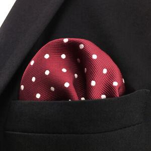 """KH15 Dots Red White Mens Pocket Square Hankies Silk Hanky Fashion Wedding 12.6"""""""