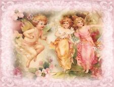 Fabric Block Cupids Angels Whimsy Dust Valentine's Day Chic Shabby Pink Roses