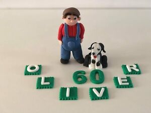 Farmer gardener man dog personalised handmade cake topper birthday decoration