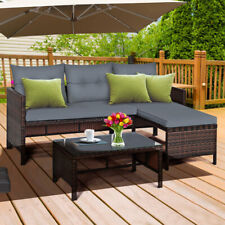 Gymax 3Pcs Outdoor Rattan Furniture Set Patio Couch Sofa Set W/ Cushion
