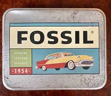 Fossil Metal Tin - Genuinely Leather Product 1954 - Vintage
