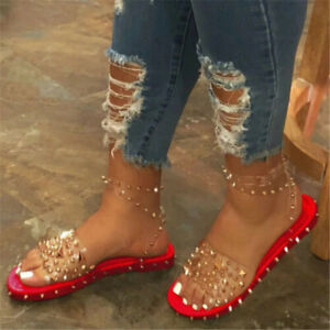 Womens Open Toe Ankle Summer Strap Studded Gladiator Sandals Casual Flats Shoes