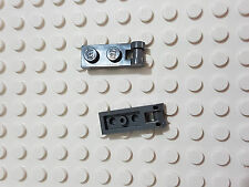 LEGO-X 2 dark grey Plates,Modified 1 x 2 with Handle on End, Closed Ends 60478