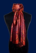 78085 LORENZO CANA Damen Schal Pashmina Tuch 100% Seide Lila Rot Gold Bronze Neu