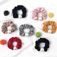 Satin Big Pearl Hair Scrunchies Hair Ties Rope Ponytail Hair Accessories F016