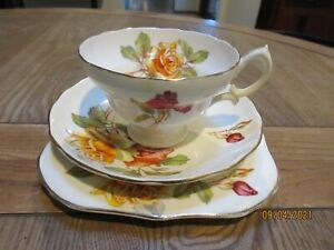 EARLY VINTAGE HAMMERSLEY & CO LONGTON STOKE ON TRENT ROSES TRIO-VERY PRETTY GC