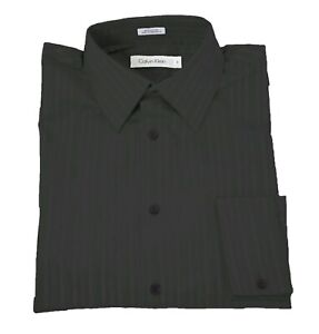 Calvin Klein Black Tonal Striped 100% Cotton Long Sleeve French Cuff Dress Shirt