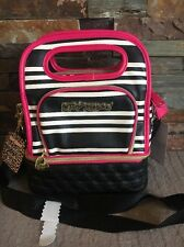 Betsey Johnson Lunch Tote Top Handle Black White Pink Striped Insulated Box Bag