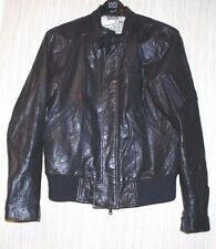 LOGAN Black Lamb Leather Collarless Mens Bomber Motorcycle Jacket Size:S