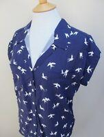 Ladies JACHS Girlfriend Blouse Cap Sleeve Button Front Blue Green S M L XL BNWT