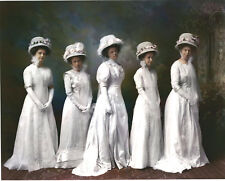 Vintage 1890 Wedding Party Big Hats With Flowers White Gloves Hand Colored LOOK