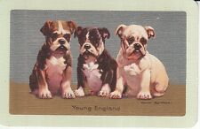 1 Single Swap Playing Card ANTIQUE LINEN NARROW-NAMED YOUNG ENGLAND PUPPY DOGS