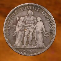 Raw 1877 France 5 Francs Uncertified Upgraded Silver French Coin