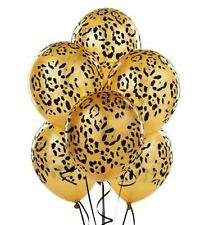 Golden Black Leopard Animal Print Latex Balloons Baby Shower Birthday Party 10pc
