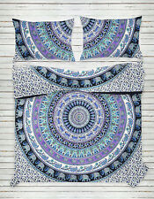 Indian White Queen Cotton Mandala Wall Hanging Tapestry Bedspread Beach Throw