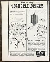 1948 NuTone Door Chimes Print Ad How To Stop Door Dither Woman Fish Bowl Cartoon