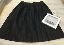 Tu Sz 16 NEW Faux Leather Black Pleated Midi Skirt