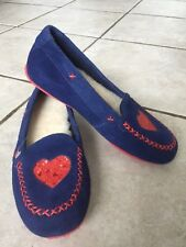 New UGG Kids Moccasin Slippers  Glitter Heart Suede Flats Blue Size 4