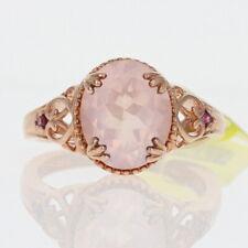 Sterling Rose Quartz & Rhodolite Garnet Ring 925 Rose Gold Plated 4.60ctw 9 1/4