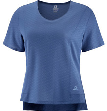 2020 Salomon Women's Elevate Aero Tee Running Shirt Dark Denim