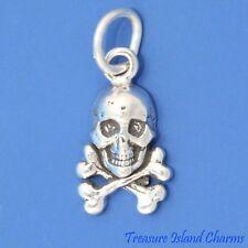 Skull and Crossbones Crossed Bones .925 Sterling Silver Charm Halloween Pirate