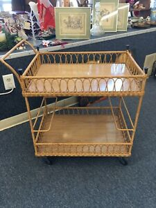 Vintage Wicker Bar Cart With Wheels