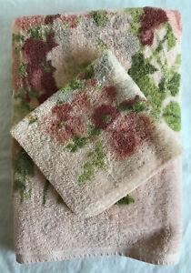 Cannon Royal Family Peach Floral Bath Towel Washcloth Retro SET Vintage 70s