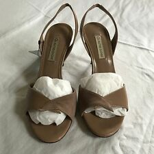 L'Autre Chose Beige Nude Slingbacks Sandals Leather & Suede Size 8.5 (38.5) New