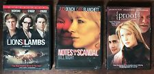 3 DVDs Proof (Hopkins), Lions For Lambs (Blanchett), Notes On A Scandal (Cruise)