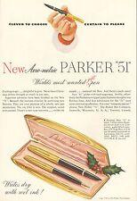 1949 Parker New Aero-metric 51 Pen Set Original Vintage Print Ad