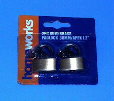 2 New Solid Brass Padlocks for Suitcase, Luggage, Jewellry Box or Cabinet