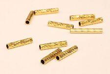1 PCS  Pure 18k Gold Diamond Cut Loose  Round barrel tube jewelry finding #B4