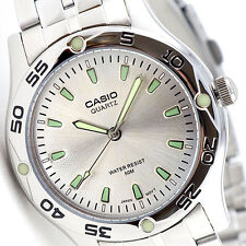 Casio MTP-1243D-7A Mens Analog Watch Stainless Steel Silver and Green Dress New