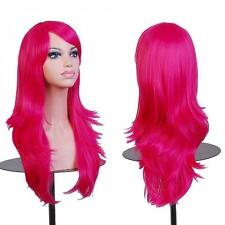 Red cosplay wig long hair straight wave hair part dress full wigs halloween hair