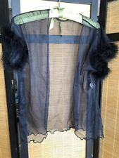 Vintage Duet Black Chiffon Short Robe Bed Top Marabou Feathers Bust 40 Sissy