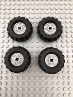 New Lego x 4 Black & Light Grey Technic Wheels 37 x 18R (56891 55982) Tyres