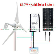 400W 12V DC Wind Turbine Generator W/ 20A Windmill Charge Controller 160W Panel