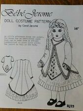 "Bebe Jerome Doll Costume Pattern ~ 1890'S Style Dress & Jacket ~ 16"" Doll - Uncu"