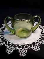 Vintage Hand Blown Green Glass Double Handled Sugar Bowl