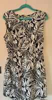 90s BOHO ladies Knee length Floral Leaf lightweight Summer Dress Size 14