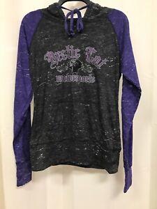 Arctic Cat Motorsports Ladies MEDIUM Long-Sleeve Hoodie Tee Purple Gray NEW NWOT