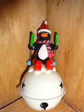 Large Star Bell White Penguin Skiing Ski's Christmas Holiday Ornament Decoration