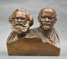 "6"" Great Communist Marx and Lénine Bust Statue de Bronze"