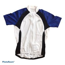Performance Cycling Jersey Top Short Sleeve Size Large White Blue Black