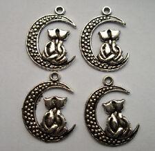 20pcs Tibetan silver alloy moon cat charms pendant 26.5x20 mm
