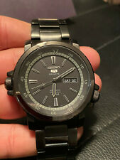 SEIKO 5 Sports Automatic Diver Watch 100M 7S36-06k4 Black Excellent Cond! 42mm