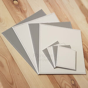Set of 4 Faux Leather Placemats & Coasters Reversible White & Grey Table Mats