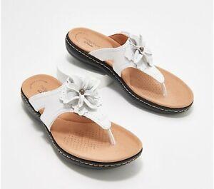 Clarks Collection Leather Floral Thong Sandals -Laurieann Gema White 10M NIB