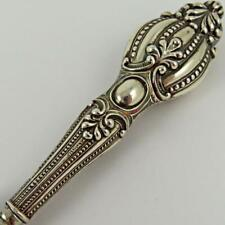 ANTIQUE VICTORIAN BEADED SCROLL STERLING SILVER HANDLE VANITY GLOVE STRETCHER #1