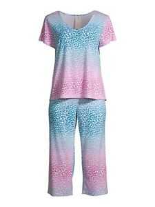 New Secret Treasures Blue Gradient Heart Women's Size XL Capri Pajama Set